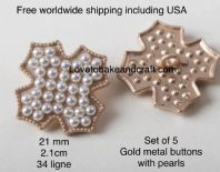 Pearl buttons, Pearl metal buttons, Pearl jacket buttons, Free worldwide shipping